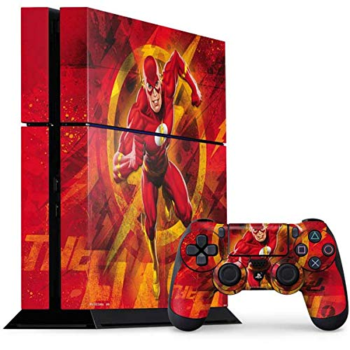 Skinit Decal Gaming Skin Compatible with PS4 Console and Controller Bundle - Officially Licensed Warner Bros Ripped Flash Design