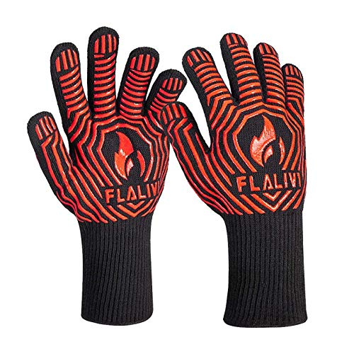 Flalivi BBQ Grill Gloves, Heat/Fire Resistant, 1472°F Oven Mitts for Cooking, Grilling, Kitchen, Smoker Baking, Barbecue, Fireplace, Welding, Cutting,13 inch Long Non-Slip Potholder Gloves,1 Pair