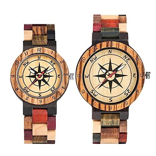 KUELXV Reloj de Pulsera de Madera Reloj de Lujo para Hombre, Reloj de Madera con Esfera de brújula única, Reloj de Pulsera Retro con Banda de Madera Completa de Color Mixto para Hombre, para Pareja