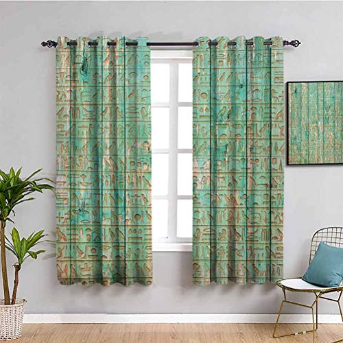 Egypt Decor Blackout Curtain Ancient Hyeroglyphs Icons on Wooden Board Mystic Egyptian Mummy Motherland Image Privacy Protection Seafoam W63 x L45 Inch