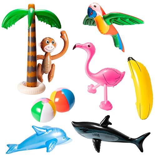 R HORSE 9Pcs Inflatable Palm Tree Flamingo Banana Beach Ball Parrot...