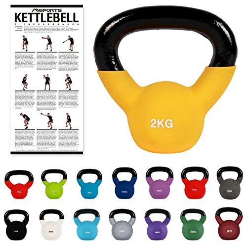 MSPORTS Kettlebell Neopren 2 – 30 kg inkl. Übungsposter (2 Kg - Gelb) Kugelhantel