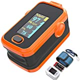 Pulse oximeter fingertip with Plethysmograph and Perfusion Index, Portable Blood Oxygen Saturation Monitor for Heart Rate and SpO2 Level, O2 Monitor Finger for Oxygen,Pulse Ox,Oximetro, (Red-Orange)