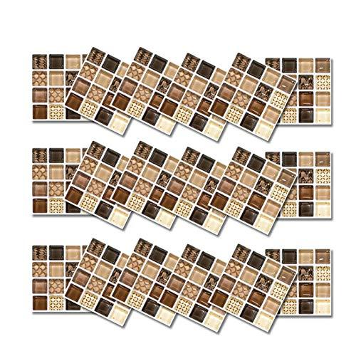 iBaste Juego de 18 piezas / juego de azulejos de mosaico de mármol, resistentes al agua, adhesivos 3D para decoración del hogar, cocina o baño