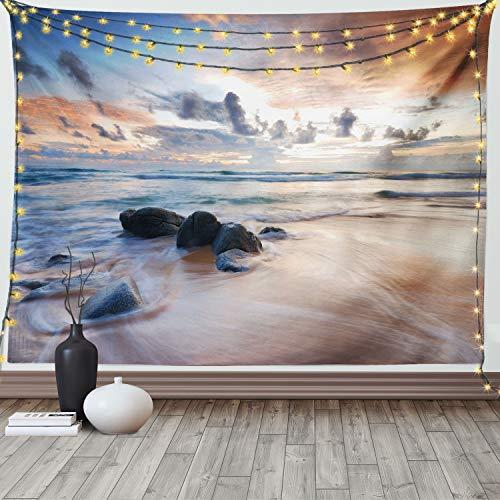 Ambesonne Costero Tapiz de Pared, Paisaje de Costa Rocosa, para el Dormitorio Apto Lavadora y Secadora Estampado Digital, 80' X 60', Marfil Azul