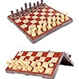 Yoobala Handmade Royal European Wooden Chess Set for Adults Unique Chess Board Set Game 12.6 Inch Board Travel Chess Pieces Magnetic Portable and Educational Kids Toy Game Foldable Board