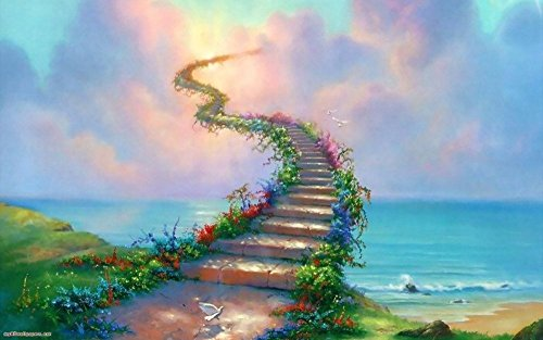 Tomorrow sunny Beautiful 3D Picture Stairway to Heaven 24x36 inch Art Silk Poster Wall Decor