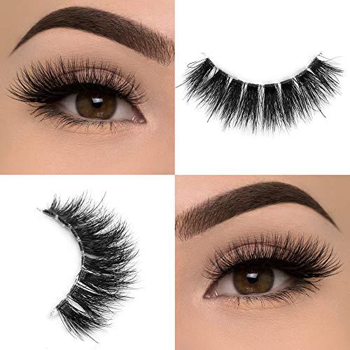 Arison Lashes 3D Falsche Wimpern Natürliche Künstliche Wimpern Weich Extra Lange Augenwimpern mit Unsichtbares Band Wiederverwendbar für Damen Mädchen Make-up (pauline)