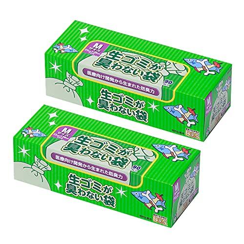 驚異の防臭袋 BOS (ボス) 生ゴミが臭わない袋 2個セット 生ゴミ処理袋袋カラー:白 (Mサイズ 90枚入)