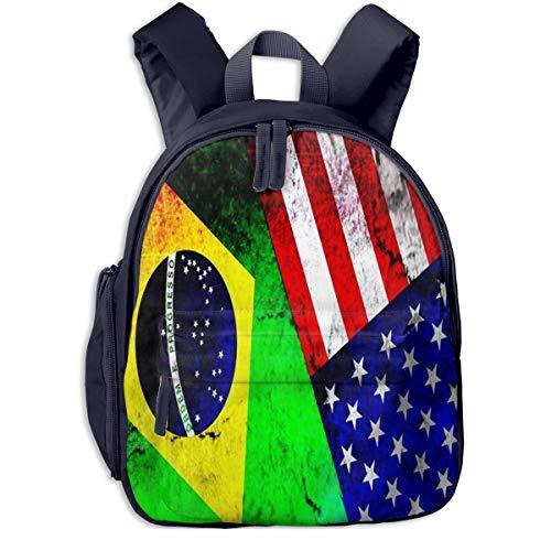 Mochilas Infantiles, Bolsa Mochila Niño Mochila Bebe Guarderia Mochila Escolar con Brasil Estados Unidos para Niños De 3 a 6 Años De Edad
