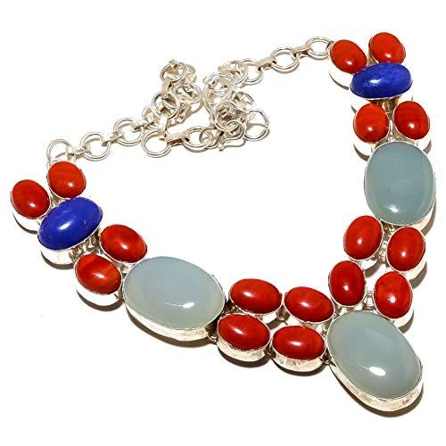 Calcedonia azul agua zafiro teñido de azul COLLAR de varias piedras de CORAL rojo de 18 'de largo joyería artística hecha a mano chapada en plata esterlina. Tienda de variedad completa COLLAR pesado