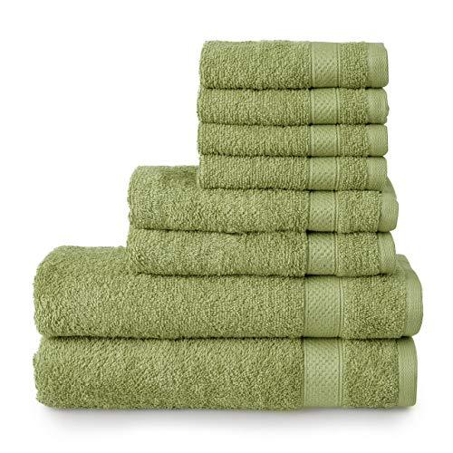 Welhome Basic 100% Cotton Towel (Sage Green) - 8 Piece Set - Quick Dry - Absorbent - Soft - 434 GSM - Machine Washable - 2 Bath - 2 Hand - 4 Wash Towels