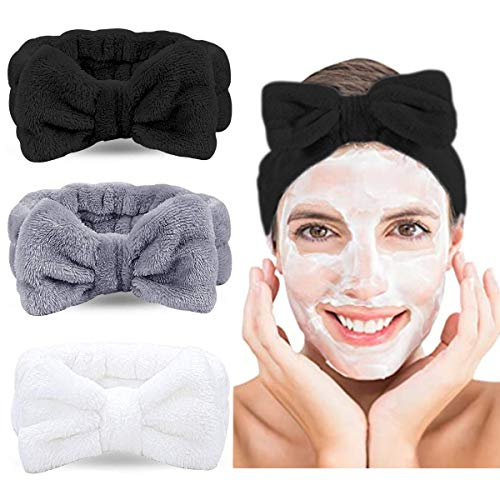 Wuudi Haarband 3er Set, kosmetik Stirnband für Damen, schleife Haarband, Koralle Make-up Stirnband, Spa Sport Gesichtpflege Haarband, elastisch Haarband (weiß, grau, schwarz)