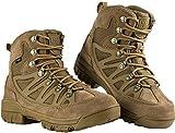 FREE SOLDIER pour Homme Tactique Bottes Mid High Rise Chaussures de randonnée d'hiver Bottes de Cuir, Wolf Brown, 40