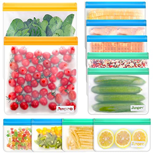 Anpro Reusable Food Storage Bags-11 Pack Reusable Storage Bags (2 Gallon Reusable Freezer Bags, 5 Reusable Sandwich Bags, 4 Reusable Snack Bags) Silicone Bags for Lunch, Extra Thick, Leak Proof, BPA Free