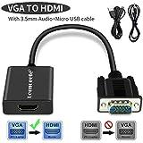 Lemorele VGA vers HDMI Adaptateur 1080P 60Hz VGA Mâle vers HDMI Femelle Convertisseur avec Audio et Câble de Recharge USB Connexion Ordinateur Ordinateur Portable, PC à HDTV