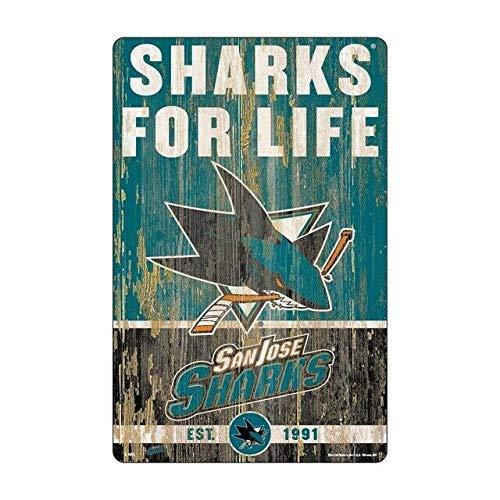 5562 Cartel vintage de estaño San José Shark Slogan-Home K