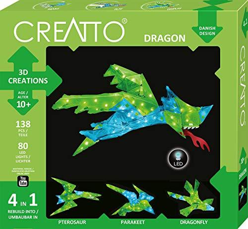 CREATTO Drache 3D-Leuchtfiguren entwerfen, 3D-Puzzle-Set für Drache, Flugsaurier, Sittich oder Libelle, gestalte kreative Zimmer-Deko, 138 Steckteile, 80-tlg LED-Lichterkette für Kinder und Erwachsene
