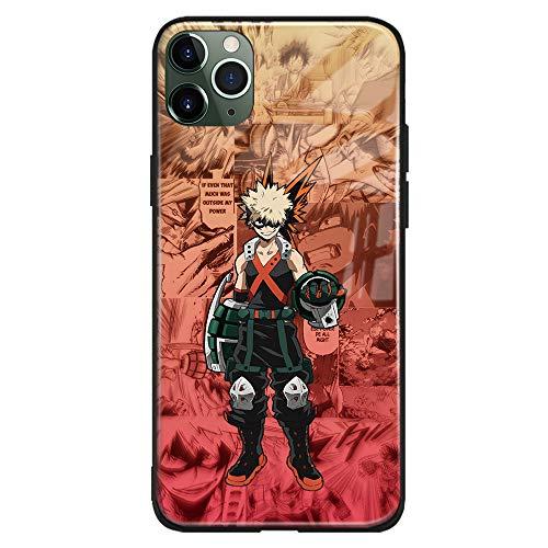 My Hero Academia BNHA Anime Katsuki Bakugo Kacchan Estética Japonesa Manga de Vidrio Templado Suave Carcasa de Silicona para Teléfono Carcasa (Brillante, iPhone 7/8/SE (2020))