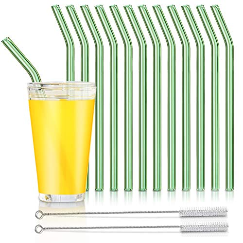 Reusable Glass Straws, Reusable Bent Glass Drinking Straws with 2 Cleaning Brushes, Reusable Straws for Smoothies, Milkshakes, Juice(Green, 12 Pack)