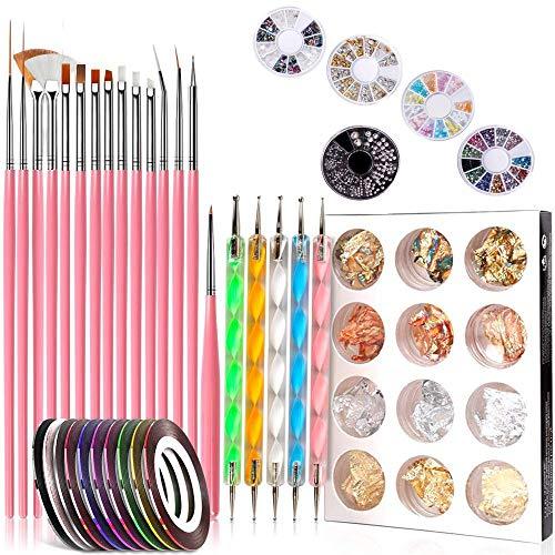Pinkiou Nail Art Tool Sets, sello de diseñador de uñas con 15 piezas de pinceles para uñas, bolígrafos para uñas, papel de uñas, cinta de manicura, pedrería de color de uñas