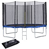 Giantex Kids Trampoline with Enclosure Net Jumping Spring Mat, Jump Outdoor Trampoline for Family School Entertainment, Trampoline with Pad Ladder and Rain Cover (12 FT)