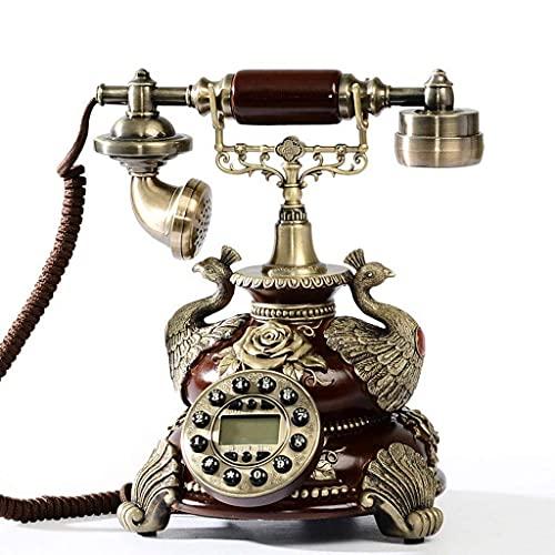 FHISD Teléfono Retro con botón pulsador con Timbre de Campana de Metal clásico Teléfono Vintage/Cuerpo y Madera Retro, Escritorio de teléfono Antiguo con Marcador, teléfono con Cable