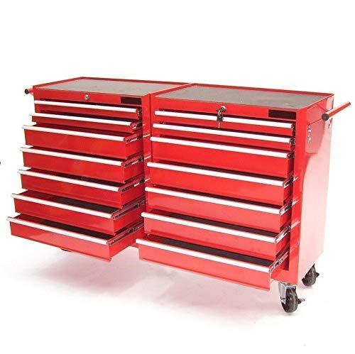 Werkzeugwagen XXL mit 14 Schubladen Werkstattwagen Rollwagen Werkzeug Schrank