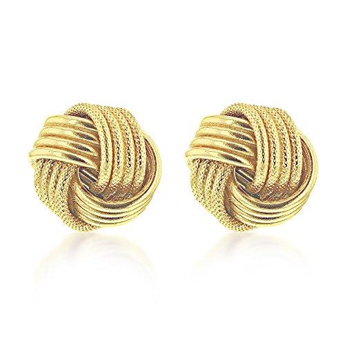 Carissima Gold Damen 11 mm 4-Reihen Strukturiert und einfarbig/einfach Knoten Ohrstecker 9k (375) Gelbgold 1.58.1589