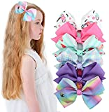 6pcs JOJO Siwa Hair Bows Alligator Clips for Girls Unicorn Grosgrain Ribbon Hair Barrettes Accessories for Toddler Kids (09)