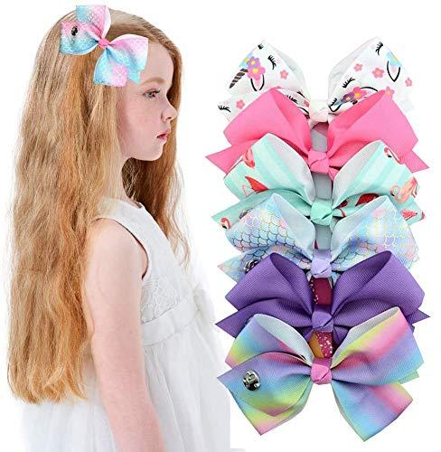 6pcs JOJO Siwa Hair Bows Clips de Cocodrilo para niñas Unicornio Grosgrain Ribbon Accesorios para Niños pequeños (06-1)