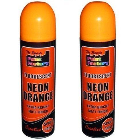 2 x naranja neón fluorescentes Spray de pintura profesional mate Interior Exterior Bright DIY color Spray limpiador para pizarras blancas