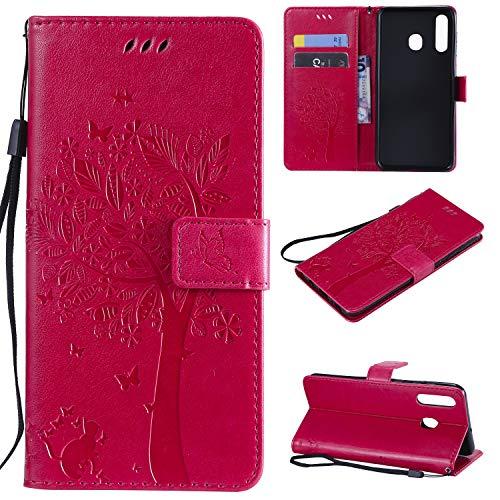 nancencen Hülle Kompatibel mit Samsung Galaxy A8S, Flip-Hülle Handytasche - Standfunktion Brieftasche & Kartenfächern - Baum & Katze - Rose Red
