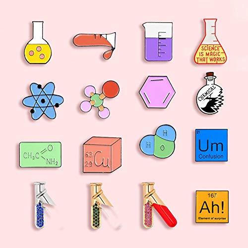 ZSCZQ Modelo químico Molecular, Broche de Esmalte metálico, Tubo de ensayo, Insignia, Pin, científico de Moda, Vestido de Estudiante, Mochila, Regalo de joyería AH
