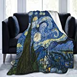Fleece Blanket Throw Blanket Super Soft Cozy Luxury Bed Blanket All Season Fluffy Fleece Throw for Couch Bed Sofa (Vincent Van Gogh Art Oil Painting Starry Night, 50'x60' Throw)