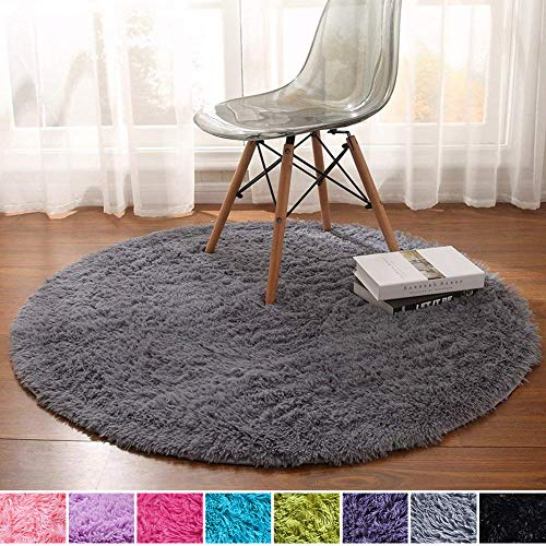 Noahas 4-Feet Luxury Round Area Rugs Super Soft Living Room Bedroom Carpet Woman Yoga Mat, Gray