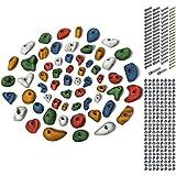ALPIDEX Juego para Principiantes: 60 presas de Escalada Incluyendo Tornillos y 200 Tuercas de púas para una Superficie de 4 a 8 m² Aprox, Color:Color Mezclado