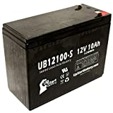 UB12100-S Universal Sealed Lead Acid Battery Replacement (12V, 10Ah, 10000mAh, F2 Terminal, AGM, SLA) - Compatible with Neuton Mowers CE5, CE6, Mongoose M-750 3, Schwinn S350, S180, Missile FS, S750