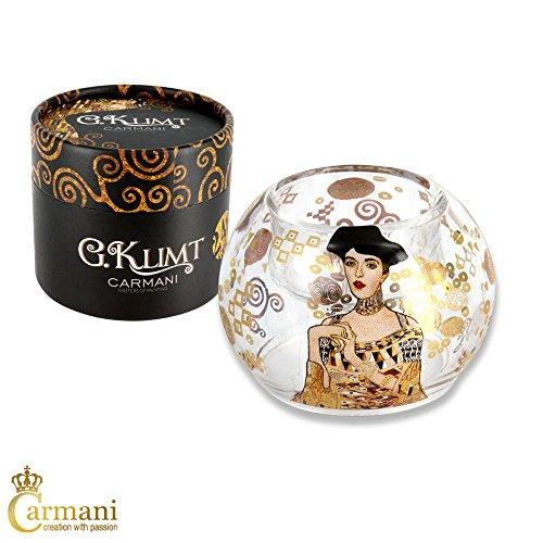 Carmani – Fancy Glas Kerze Teelichthalter Tafelaufsatz Hochzeit Tischplatte Party Dekorationen mit Gustav Klimt Gemälde