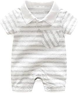 للجنسين طفل رضيع فتاة مخطط رومبير قصيرة الأكمام بذلة للأطفال الوليد الأطفال عارضة ملابس داخلية (Color : Gray, Kid Size : 9M)