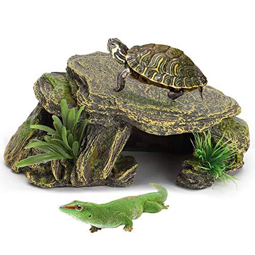 PINVNBY Reptilien-Plattform, Höhle, Schildkröte, Felsen, Aquarium, Dekoration, Terrarium, Kunstharz, Versteck für Gecko, Bartagamen, Frösche, Eidechsen, Fische, Amphibien