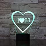 AOXULIU Luz de noche I Love You Colorida Lámpara De Holograma 3D Usb Luces Acrílicas 3D Lámpara Led Luz De Noche Festival Boda Fiesta Amante Decoración Luz Base Blanca Agrietada