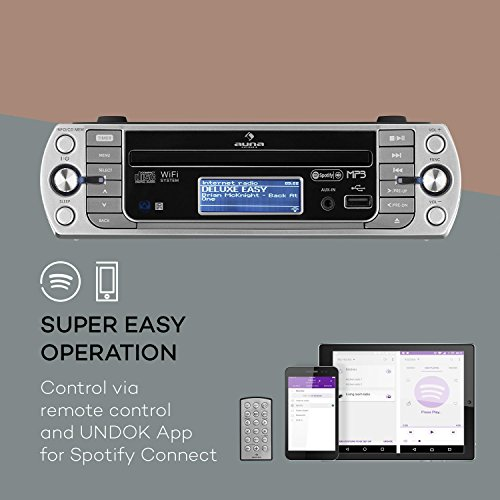 auna KR-500 CD Internetradio Unterbau-Radio (Internet Radio, CD/MP3-Player, WiFi, AUX, USB, Spotify Connect, Network-Streaming, LCD-Display, Bedienung per App und Fernbedienung) grausilber
