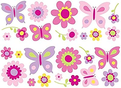 Paper Plane Design Butterfly and Flowers Wall Decal
