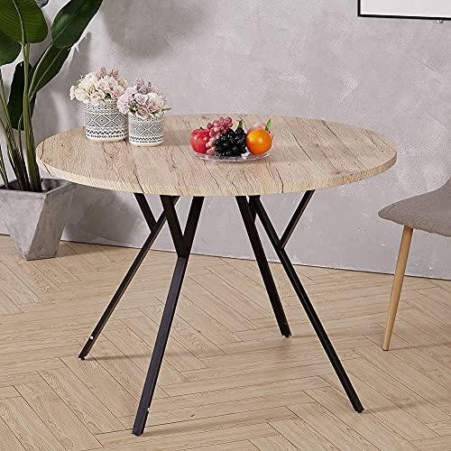 INMOZATA Round Dining Table Wood Top Metal Legs Kitchen Table Coffee Table Sofa Table for Dining Room Living Room