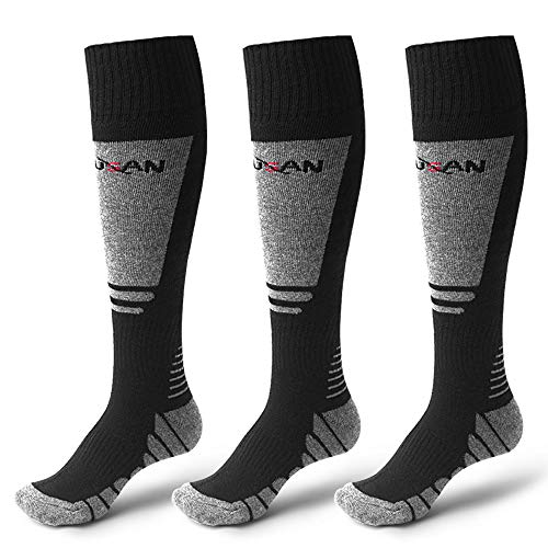 MUSAN Wool Ski Socks,Extra Warm Knee High Performance Snow Skiing/Snowboard Socks in Outdoor,Fit for Men and Women,Black-3Pack, Size:18L