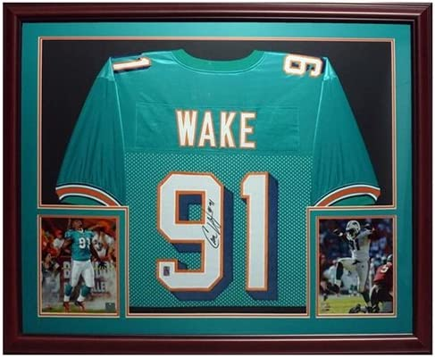 Cameron Cam Wake Autographed Miami Dolphins (Teal #91) Deluxe ...