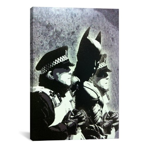 iCanvasART Batman and The Police by Banksy Canvas Art Print,...
