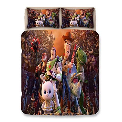 Rmooaceo Bedding Sets Single Twin Size - Cartoon Anime Character - (Super King: 260 X 230 Cm) Duvet Cover Girl Kids Bed Linens 3D Cartoon Home Textiles+2 Pillowcase 50 X 75 Cm Soft Hypoallergenic Br