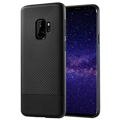 MADIBA Hülle kompatibel mit Galaxy S9 Carbon Design Schwarz Black Optik (Ultraleicht) Silikon Bumper dünne Handyhülle Cover